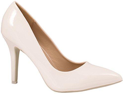 Elara Spitze Damen Pumps   Bequeme Lack Stilettos   Elegante High Heels   chunkyrayan JA70-Weiss-39