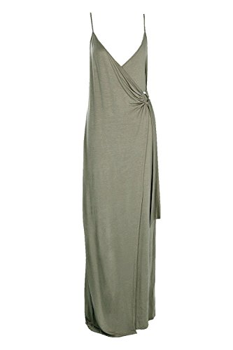 Khaki Damen Amaris Wrap Front Strappy Maxi Dress Khaki