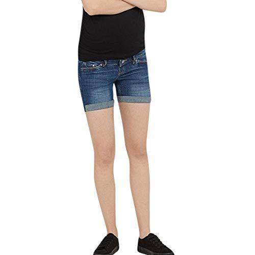 Doublehero Umstandsjeans Cargoshorts Kurze Hose Umstandsshorts Casual Maternity Hosen Shorts Umstandsmode Damen Elastische Umstandshosen Hohe Taille Mode Freizeithose Schwangerschaftshose (M, Blau) -