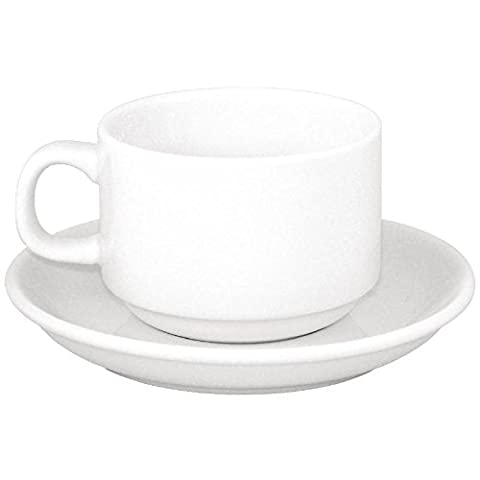 24X Athena Hotelware Stacking Tea Cup And Saucer Combo 144mm