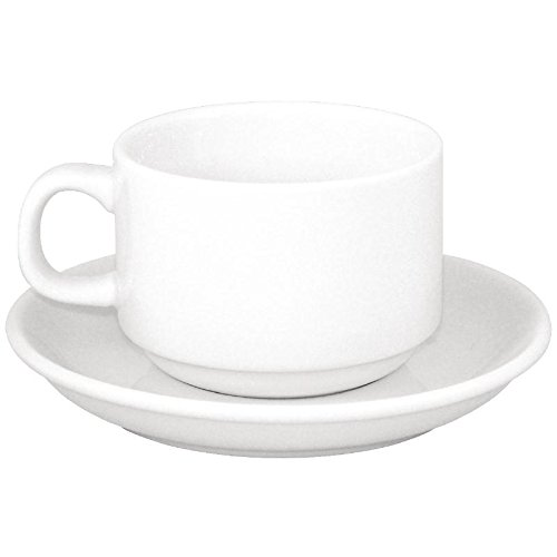 24X Athena Hotelware Stacking Tea Cup And Saucer Combo 144mm Porcelain White