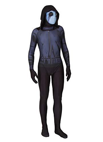 URVIP Herren Halloween Jumpsuit Kostüm 3D Print Langarm Skinny Skeleton Catsuit Cosplay Overall Body Schwarz Geist S