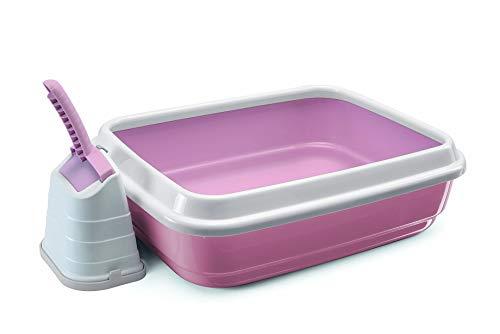 Joli Moulin Premium Set Katzentoilette offen mit Rand 40 x 50 x 15 cm Set mit Streuschaufel und Hygiene-Behälter Italienisches Design