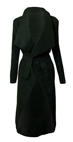 Belted Damen Trench Coat (Italienische Wasserfall Kim Kardashian Celebrity Fell Gürtel Lange Jacke Cape Cardigan 8–14 Gr. Einheitsgröße, Schwarz - Schwarz)