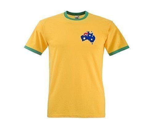 Australia Australiano Tifosi Rugby / Cricket / Da calcio Map T-Shirt Jersey - Tutte Le Misure - cotone, Giallo/Verde, 100% cotone, Uomo, M