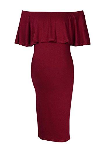*KoJooin Damen schulterfreies Umstandskleid Schwangerschafts kleid,elegantes Kleid für Schwangere Frauen off shoulder Kleider*