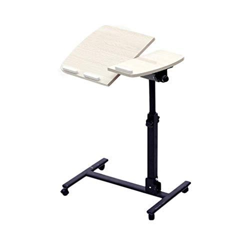 KJRJZDZ Verstellbarer und tragbarer Laptop-Ständer, einfach zusammenzufalten, rollbarer Schreibtisch mit Mauspad, ergonomischer Laptop-Schreibtisch auf Rädern (Color : C) (Weißes Podest, Beistelltisch)