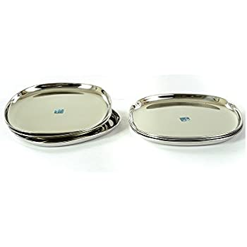 Lily Square Stainless Steel Dinner Plate, 6 Pieces, Silver
