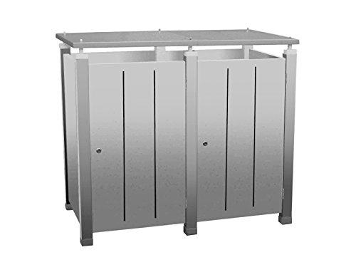 Mülltonnenbox Modell Pacco E Line S2 für zwei 120 Liter Mülltonnen in Edelstahloptik