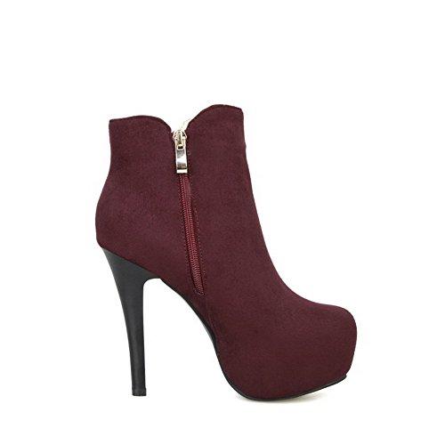 AgooLar Damen Niedrig-Spitze Reißverschluss Mattglasbirne Stiletto Rund Zehe Stiefel Rot