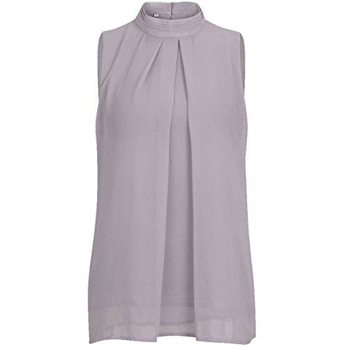 Frauen ärmellose Chiffonbluse Mock Neck Double Layer Kausal Shirts Tunika Tops (Farbe : Light Grey, Größe : L)