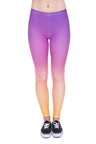 Femmes Mesdames Leggings Longueur complet extensible Collants Pantalon pour ne pas voir à travers Fitness Yoga Running Hipster UK 81012 Multicolore - RAINBOW OMBRE