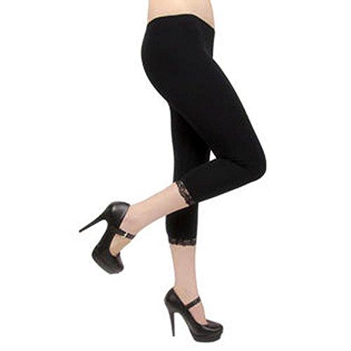 Damen hochwertiger Baumwolle weicher Stretch-Spitze unter Knie Ernte Leggings Farben & Größen Ebene 3/4(ref:2191lace) (x-groß, schwarz(black))