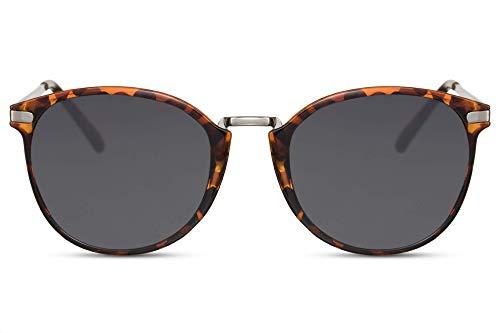 Cheapass Sonnenbrille Rund Braun Schwarz Glänzend Leopard UV-400 Vintage Designer-Brille Metall Damen Herren