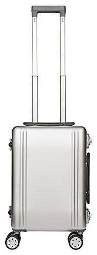 Packenger Alu Reisekoffer mit 33 Liter Fassungsvermögen in der Farbe Silber, 46x32x21cm, Zwei TSA-Schlösser