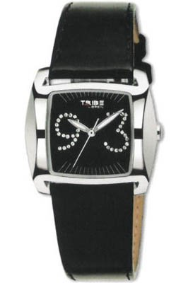 Breil Ladies Flight Analogue Watch TW0216 with Stainless Steel Case, Black Dial with Stones at 3 and 9, and Black Leather