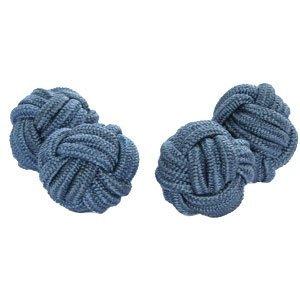 Paralume in seta-gemelli con nodo, polsini & co blu