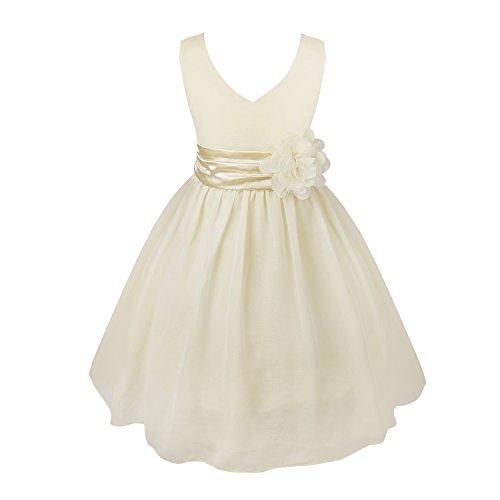 YiZYiF Blumenmaedchenkleider Kinder Mädchen Prinzessin Kleid für Brautjungfern Hochzeits Chiffon Sommer Festzug Cream - 4(Asien), 104(DE)