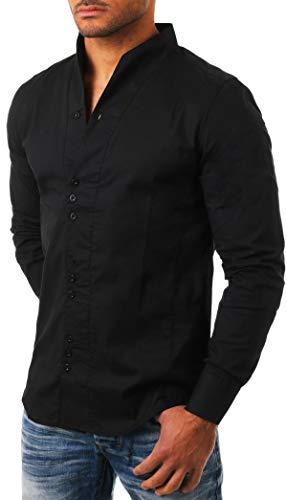 Carisma Herren Uni langarm Stehkragen Hemd slimfit tailliert figurbetont Party Club Look Optik Freizeit Casual einfarbig Basic , Grösse:M;Farbe:Schwarz