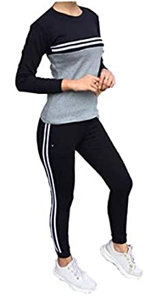 Galani® Yoga Suit For Sports Gym Dancing Workout Aerobic Fitness Breathable Cotton Top & Leggings For Women (Free Size) Comfortable Ankle-Length Yoga Wear (Black)