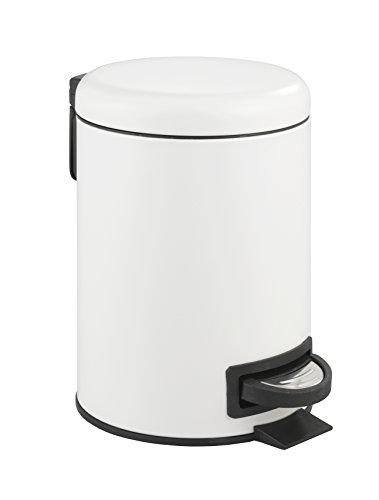 Wenko 22706100 Poubelle à pédale Blanche Leman Easy-Close 3 litres, Acier Inoxydable, Blanc, 20 x 17 x 28 cm