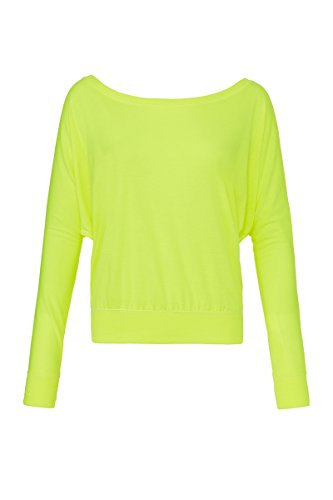 Flowy off-the-shoulder long sleeve t-shirt Bella Canvas Streetwear Shirts Donna neon yellow