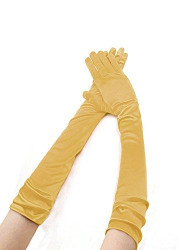 sourcingmap® Damen Dehnbar Oper Länge Fingerhandschuhe Paar - Damen, Gold, Synthetisch, 95% polyester 5% (Gelbe Handschuhe Lang)