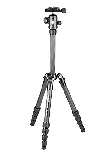Manfrotto Element Traveller Carbon Kit (klein, sehr leichtes Reisestativ aus Carbon mit Kugelkopf, inkl. Tragetasche und Spikes, geeignet für Arca Swiss) schwarz -