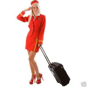 (Air Hostess Virgin Red Ladies Fancy Dress Extra Small)