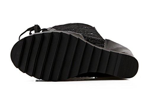 UH Sandales Bottines Femmes Peep Toe à Talons Moyen Compensees de Lacets et Fermeture Eclair avec Dentelle à Fond de Réseau Noir