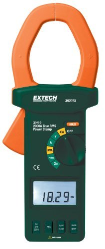 Extech 382075 2000A True RMS AC/DC 3-Phase Clamp-on Power Analyzer by Extech -