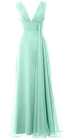 5ceef1386534 MACloth Women Deep V Neck Long Bridesmaid Dress Chiffon Simple Prom Gown  (6, Aqua