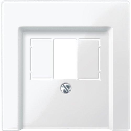 Merten 296019 Zentralplatte für TAE/Audio/USB, polarweiß glänzend, System M (Lautsprecher-schalter)