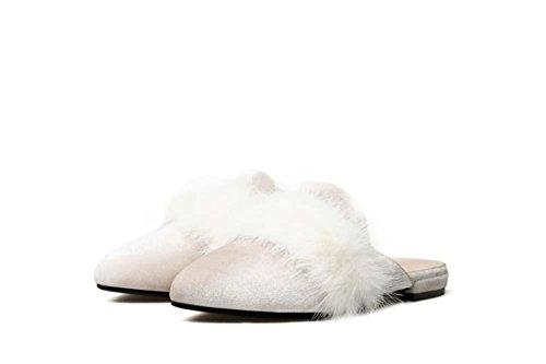 NobS Chaussures En Cuir Plat à Talon Pointu beige