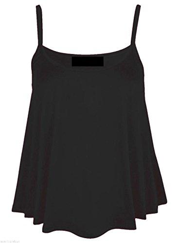 Femmes - Débardeur caraco trapèze évaséà bretelles couleur unie grande taille Noir