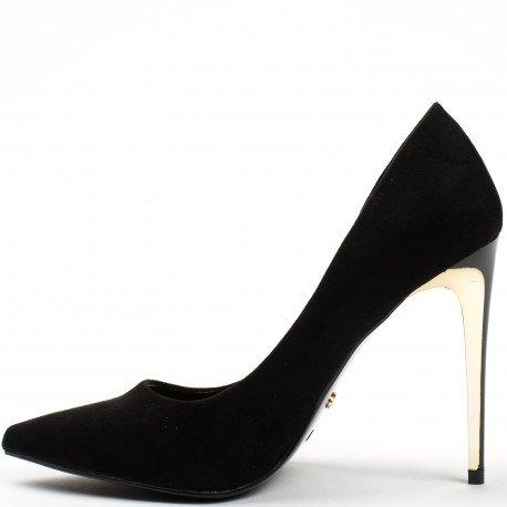 Ideal Shoes - Escarpins à bout pointus effet daim Timona Noir