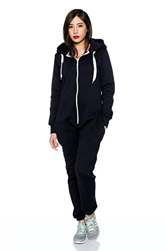 Jumpsuit Overall Strampler Ganzkörperanzug für Damen in schönen Basic Farben Navy / AMA