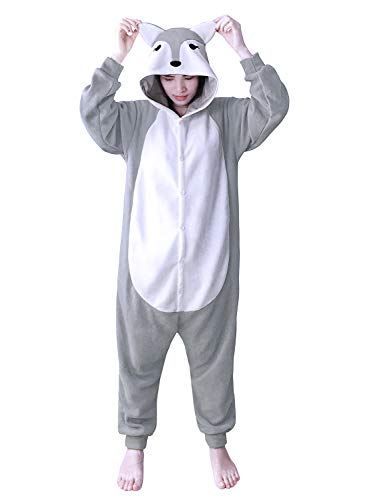 dressfan Tier Jumpsuit Grey Fox Erwachsene Pyjamas Unisex Polar Fleece Cosplay ()