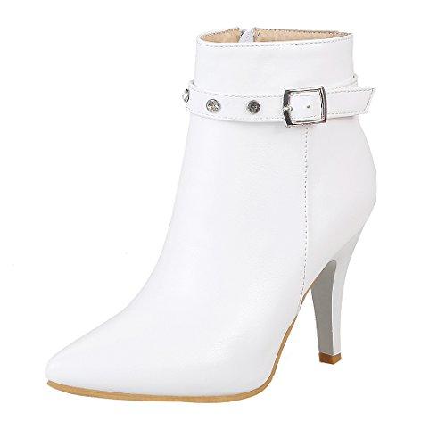 (UH Damen Stiefeletten High Heels Spitze Stiletto Ankle Boots mit Strass und Reißverschluss Schnalle 8cm Absatz Elegante Schuhe)
