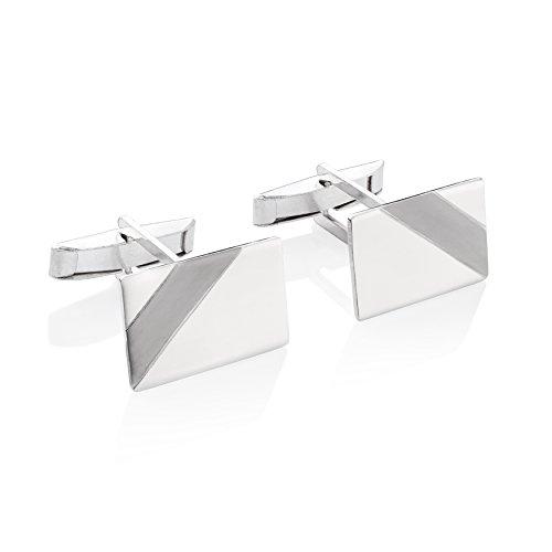 STERLL Herren Silber-Manschettenknöpfe Silber 925 gebürstet mit oxidiertem Streifen Schmucketui Geschenke für Männer