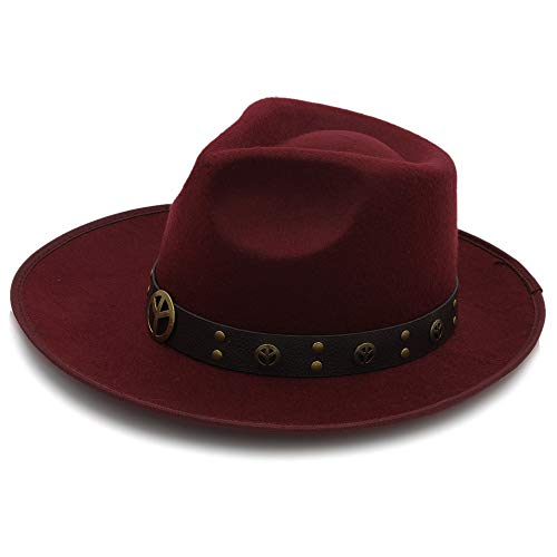 Unbekannt Hut- Vintage Braid Gürtel Hut Fedora Hut für Frauen Herren Hut Wollfilz Fedora Chapeau Homme Feutre Fascinator Sombrero (Farbe : Weinrot, Größe : 58 cm)