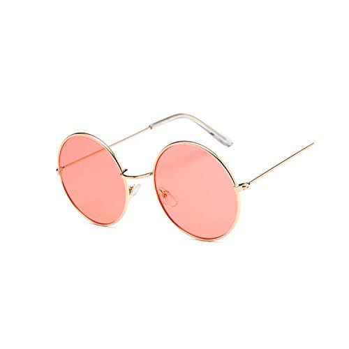 Sportbrillen, Angeln Golfbrille,Round Small Sunglasses Women Brand Designer Vintage Metal Cheap Sun Glasses For Female High Quality Glasses Retro Circle Eyewear GoldRed