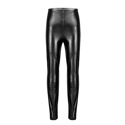 Agoky Kinder Mädchen Jungen Metallic Hose Solid Glänzend Lange Hose Leggings Tights für Auftritte Kostüme Tanz Wettbewerbe Schwarz 140(Taille 54-66cm) (Tanz Kostüme Für Hip Hop Wettbewerb)