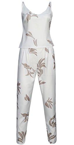 Fancyinn Frauen 2 Stück Outfit Overall Blumenkultur Top + Lange Hosen Khaki