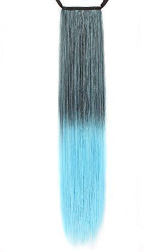 MapofBeauty 50cm/20 Pouce Longue Droit Queue de cheval Femmes Queue de cheval (Noir/Azur)