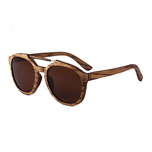 QYEND Wooden Small Round Classic Sonnenbrille Polarized Wooden Round Frame Sonnenbrille Retro UV-Schutz Sonnenbrille UV400,C