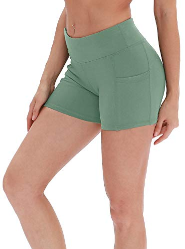 icyzone Damen Tights Shorts Sport Kurze Hosen - Laufshorts Fitness Yoga Leggings (L, Brook Green) (Green-yoga-hosen)