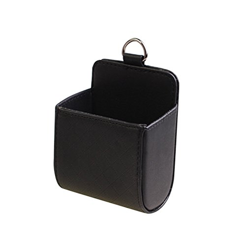 Schwarze Leder-handy-halter (WINOMO Auto Air Vent Aufbewahrungsbeutel Universal Leder Auto Outlet Handy Halter Organizer Case (Schwarz))