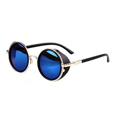 MJDABAOFA Sonnenbrillen,Blau Steampunk Sonnenbrille Frauen Runde Gläser Goggles Männer Seite Visor Kreis Objektiv Unisex Vintage Retro Style Punk