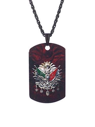 Gök-Türk Halskette Künye für Herren Unisex mit Anhänger Osmanische Tugra Abdul Hamid Abdülhamid II Sultans Stempel Ottoman Türk- schwarz -